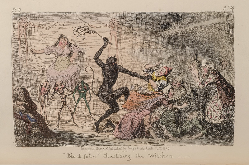 "George Cruikshank -""Black John"" Chastising the Witches,  colored Illustration from ""Letters On Demonology And Witchcraft"" by Walter Scott, 1830"
