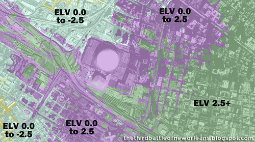TBNO Map:  Louisiana Superdome/New Orleans Arena Base Elevation Thematic | by Seymour D. Fair