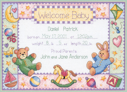 Baby Announcement Cross Stitch I hope to get started on – Birth Announcements Cross Stitch