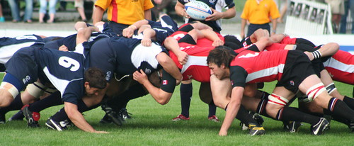 Rugby, XXVIII: Scrum | by jessica @ flickr