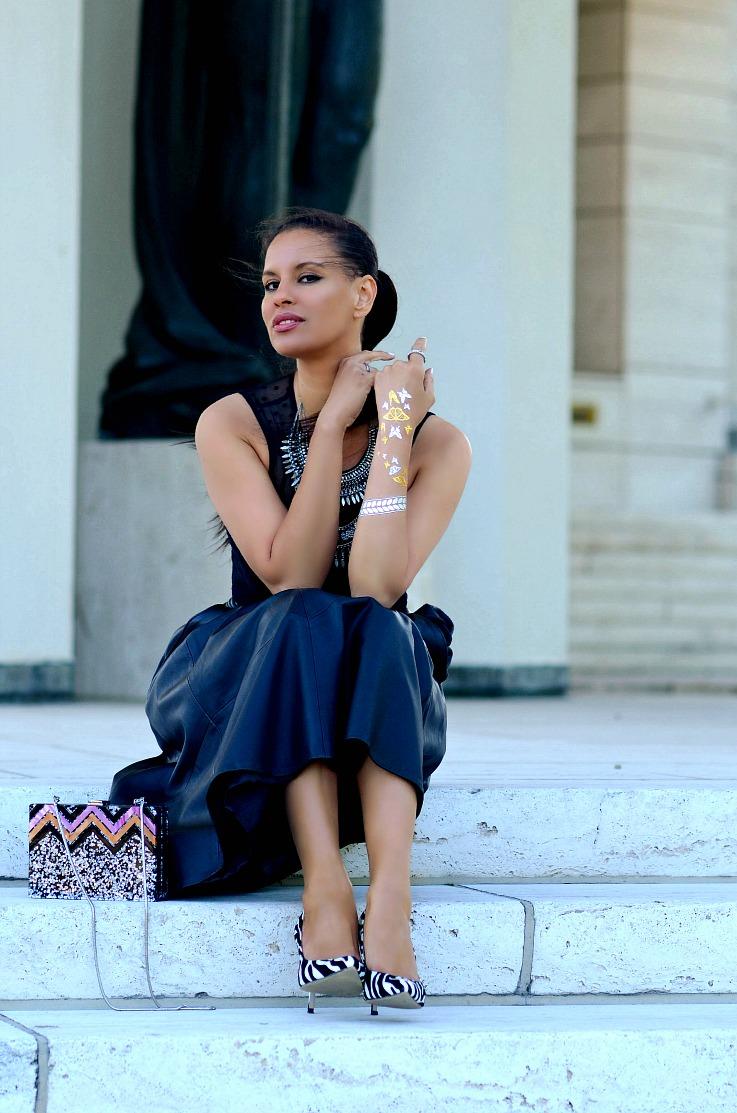 DSC_5362 Tamara Chloé, Zara Glitter Box bag, Flash Tatoo, Black leather midi skirt