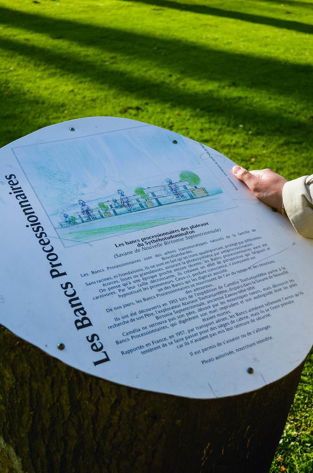 Les bancs processionnaires Jardin des plantes Nantes