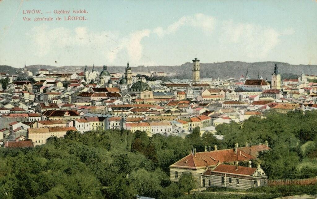 Vue panoramique de Lviv (Lwow, Lemberg ou Leopolis selon les époques) en Ukraine. Carte postale vers 1920.