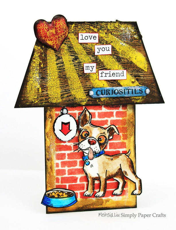 Meihsia Liu Simply Paper Crafts mixed media tag pet crazy dog Simon Says Stmap Monday Challenge Tim  2