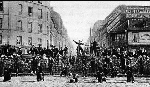 15f13 Barricade à l'entrée du boulevard Voltaire, le 18 mars 1871