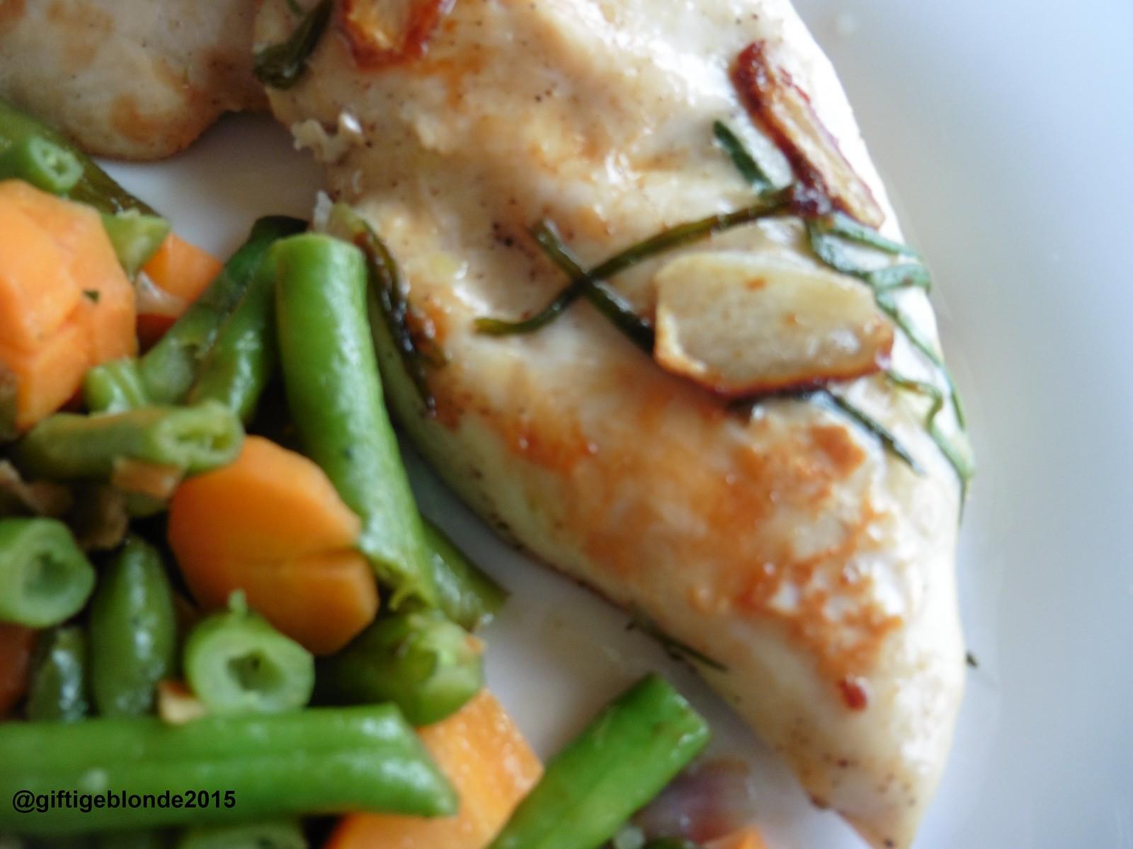Hendl, Gemüse, weiße Polenta