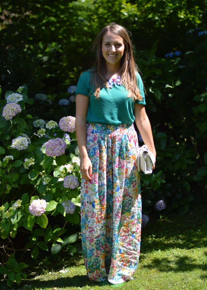 pantaloni palazzo, Zara, wildflower girl, ortensie, fashion blog (1)