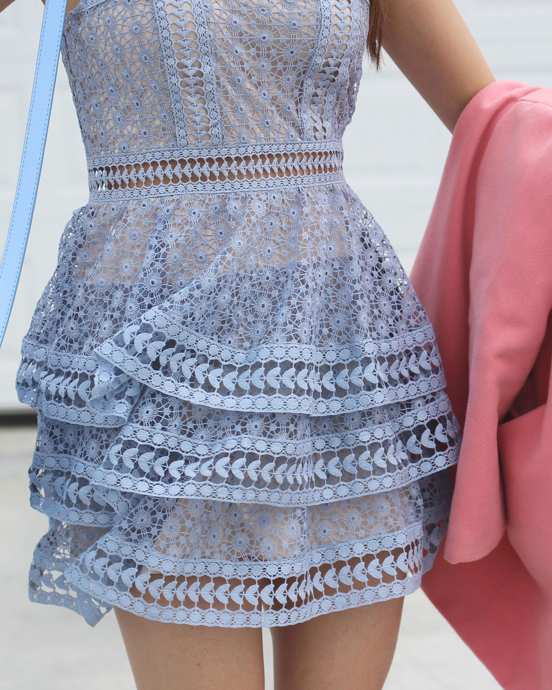 Blue lace ruffle tiered dress