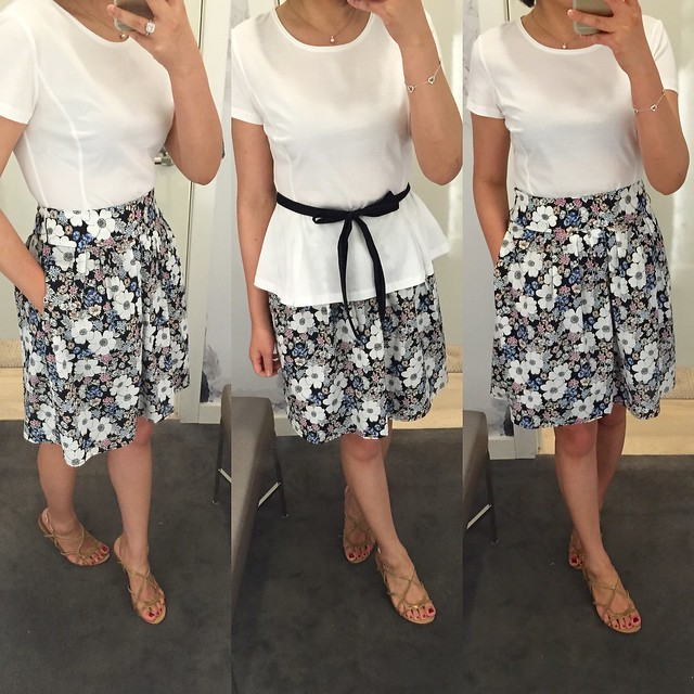 Ann Taylor Sketched Floral Skirt (size 00P) & Cotton Peplum Top (size XSP)