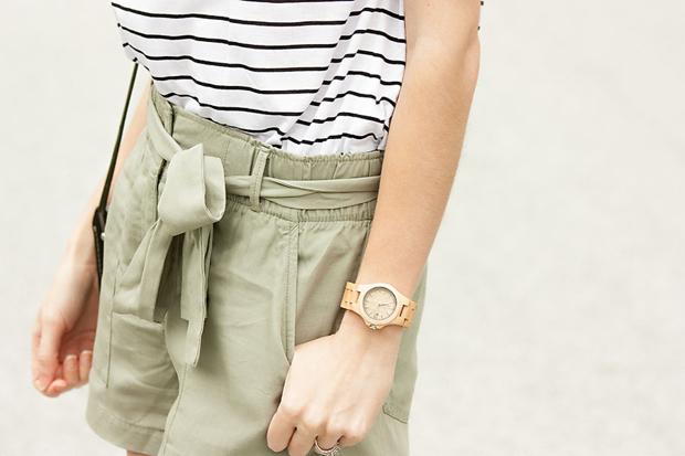 Jord Watch, Gap Tie Shorts, Striped Tee