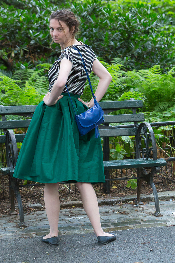 Stripes and Green Skirt