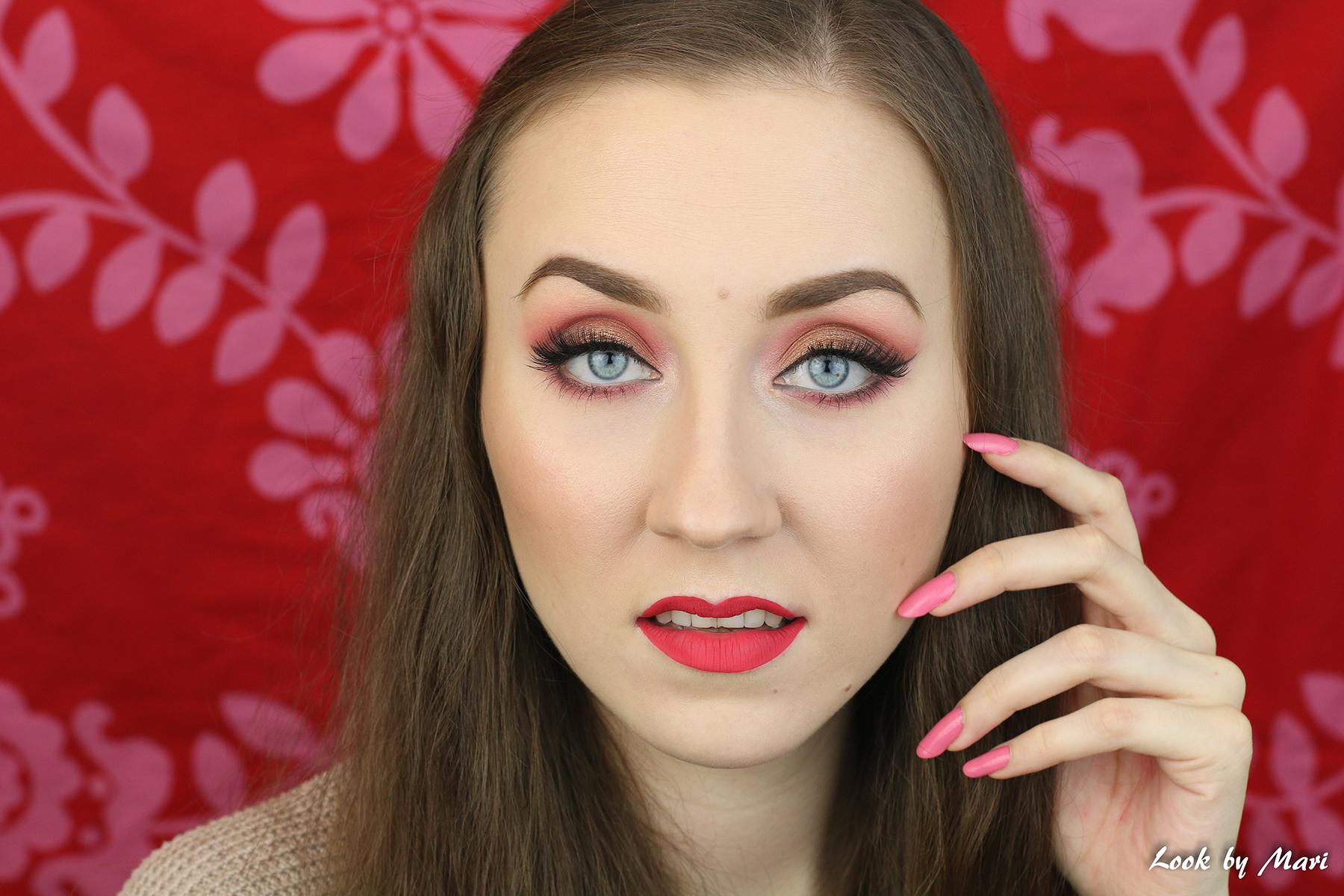 4 ystävänpäivä meikki tutoriaali ideoita värikäs lämpimät sävyt vaaleanpunainen makeup geek luomivärit eyeshadows swatches swatch
