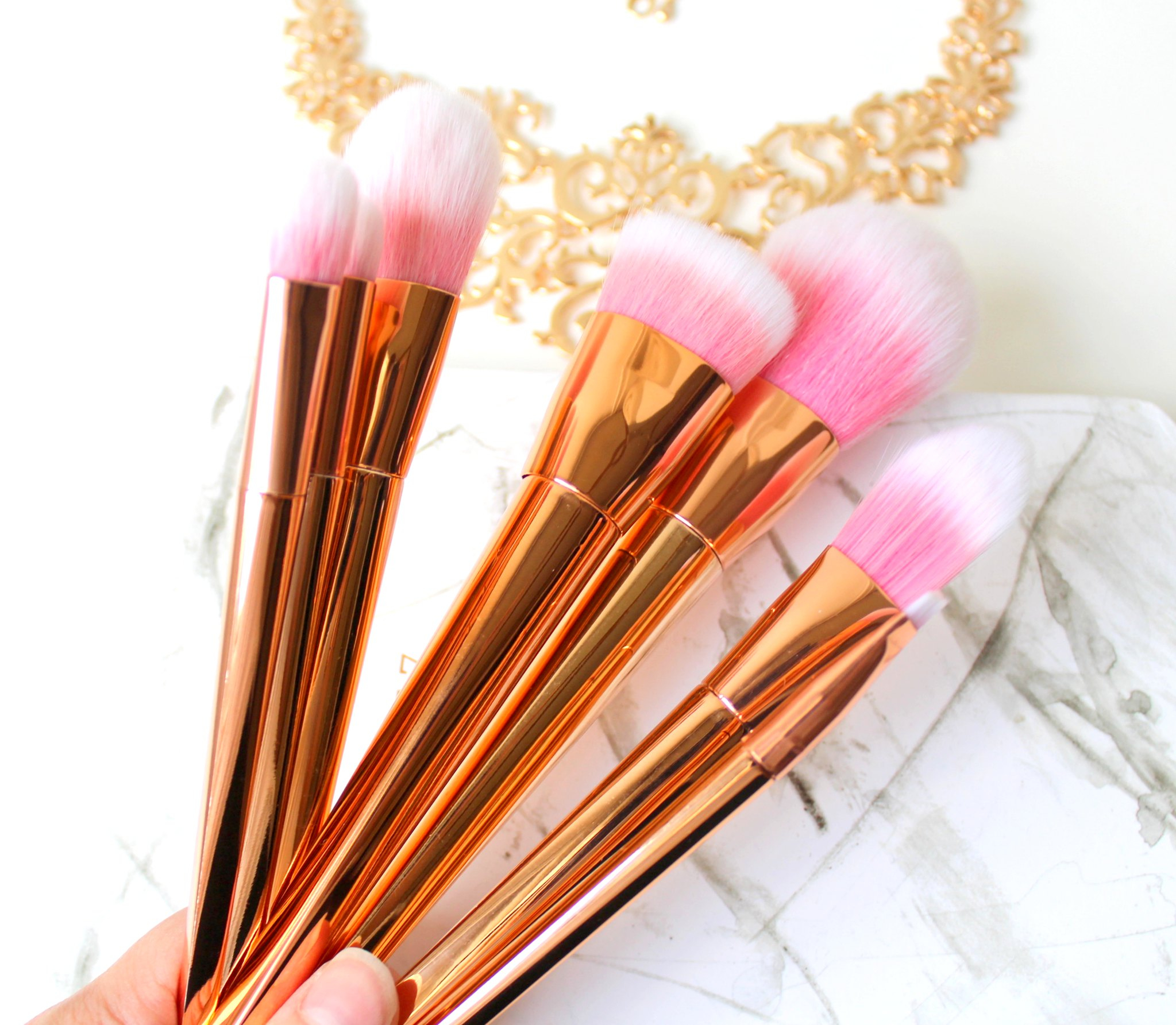 Rosegold make up brushes