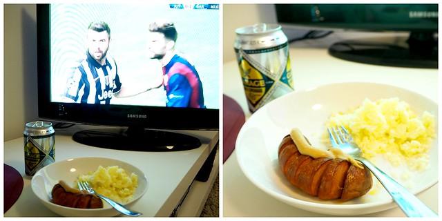 uefa final3, makkara, sausage, lonekro, long drink, watching football, katsoa jalkapalloa, eväät, food, tv, juventus, fc barcelona,