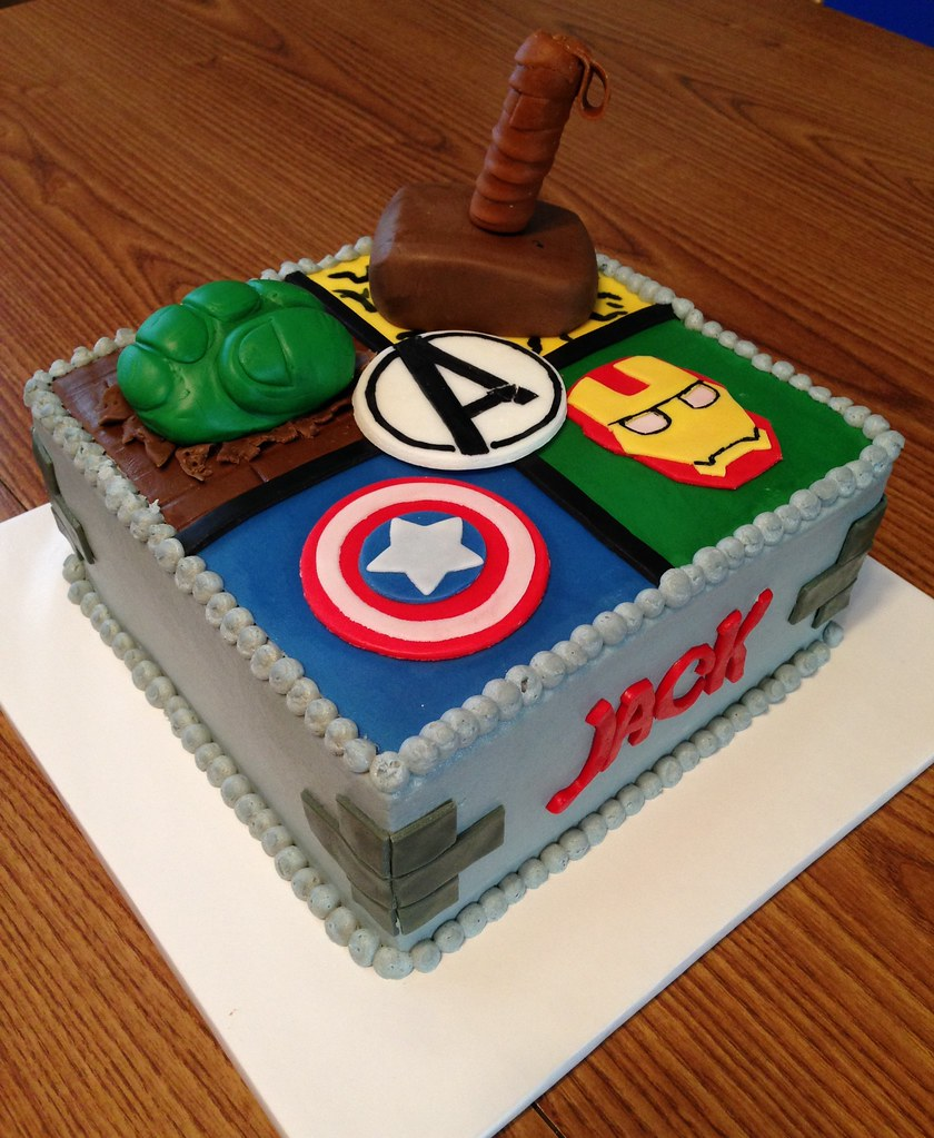 Tremendous Avengers Birthday Cake Buttercream Frosting With Mmf Accen Flickr Funny Birthday Cards Online Drosicarndamsfinfo