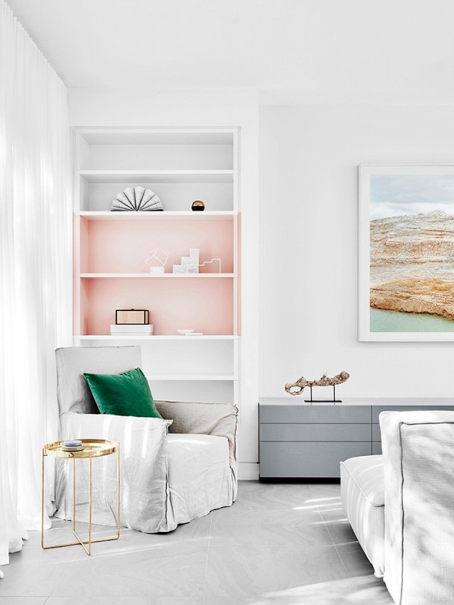 Feminine Minimalism Decor | Pale Pink Shelving | How to Subtly Decorate with the Color Pink