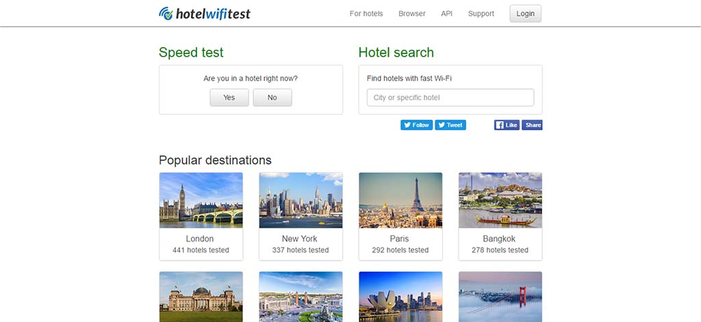Extremely useful websites #7: This website will give you a list of hotels by ranking them according to their Wi-Fi speed.
