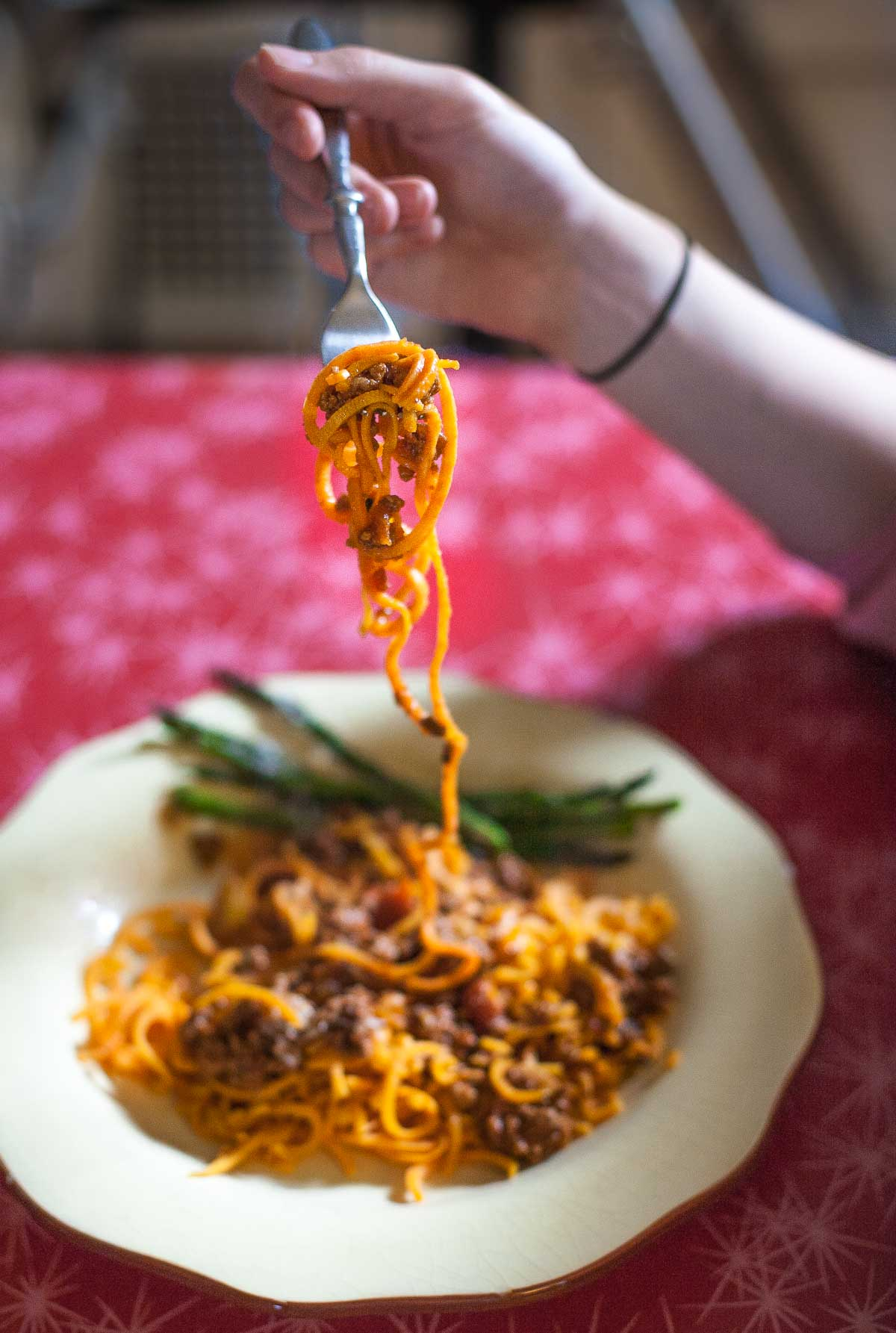 Slow-Cooked Bolognese Sauce with Sweet Potato Spaghetti (Gluten free, Paleo, Whole30) | acalculatedwhisk.com