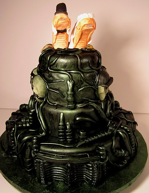 Alien themed Wedding Cake by Jet City Cakes