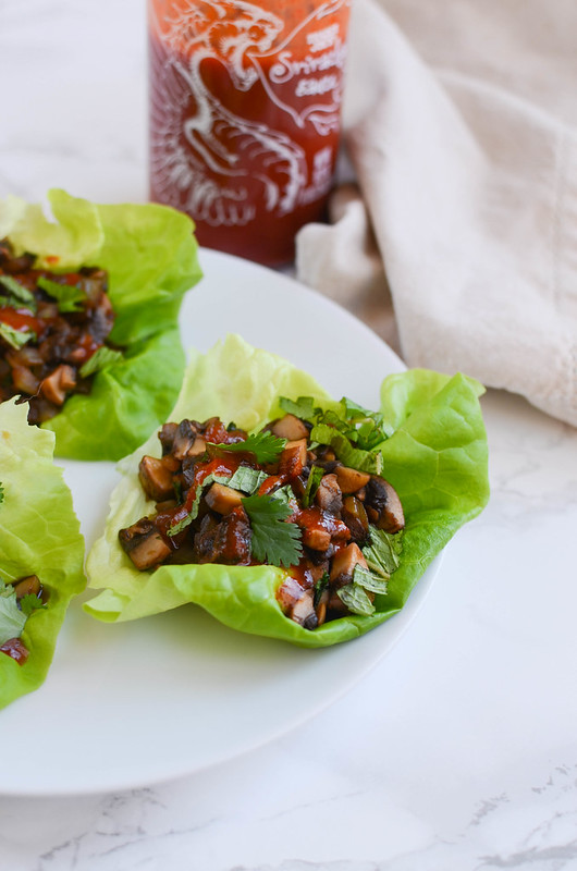 Thai Mushroom Lettuce Wraps - delicious meatless lettuce wraps! Healthy, quick, and cheap!