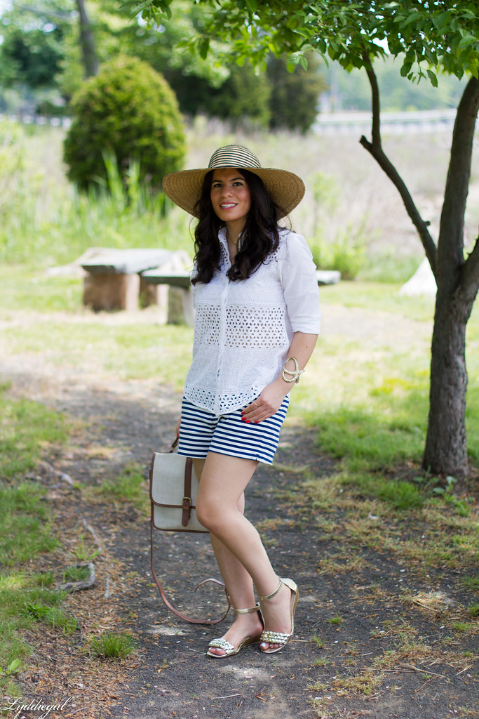 white eyelet shirt, striped shorts, starfish cuff, floppy hat.jpg