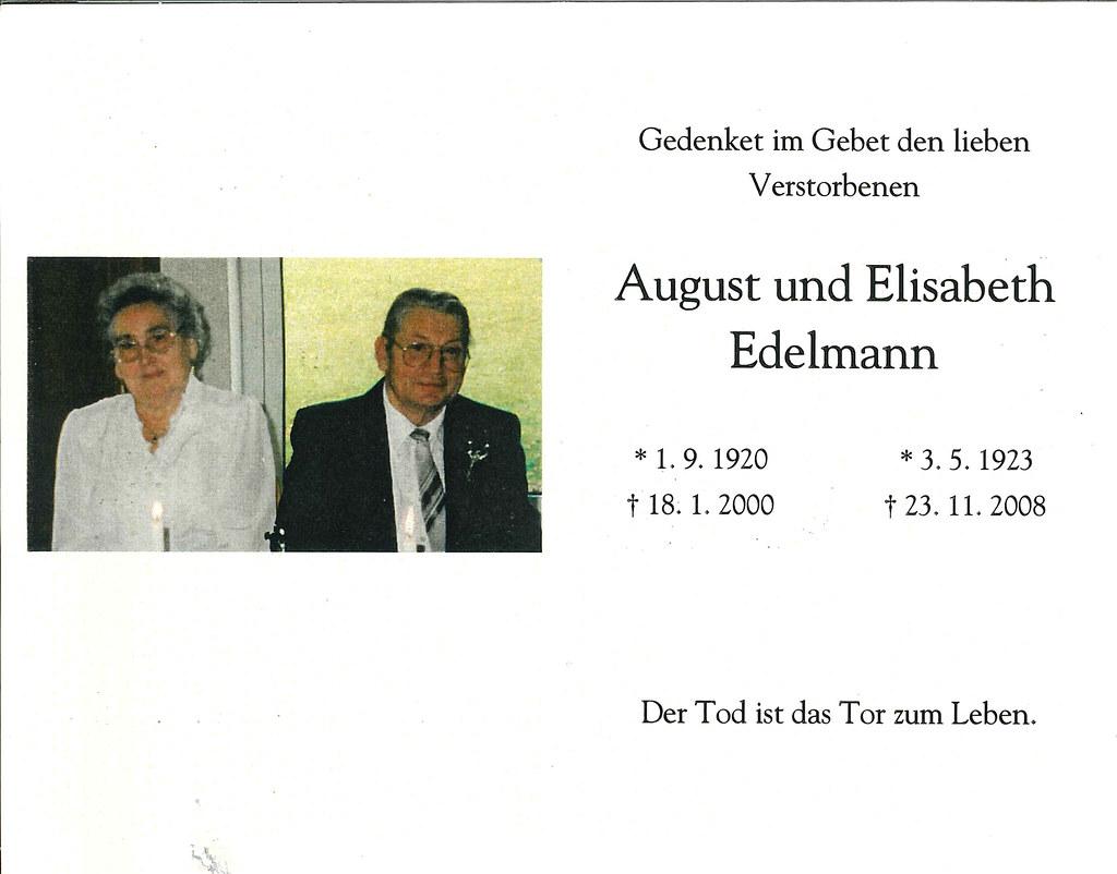 Totenzettel Edelmann, August 18.01.2000
