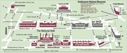 Map of the Smithsonian Museums on the National Mall