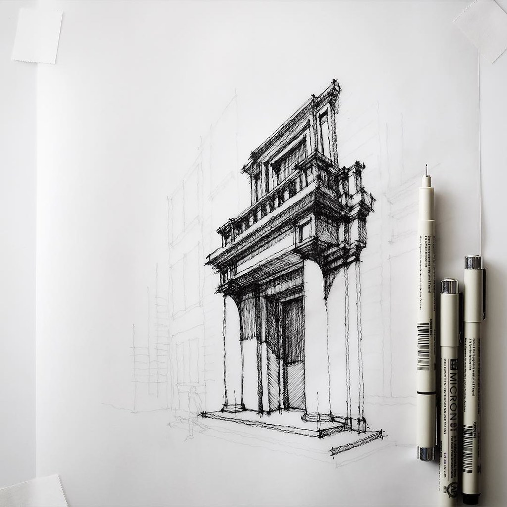 In progress sketch architecture dan hogman flickr for Online architecture drawing