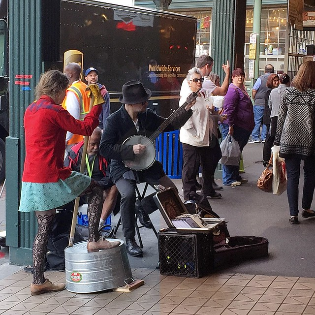 Buskers at the Pike Place Market, Seattle.