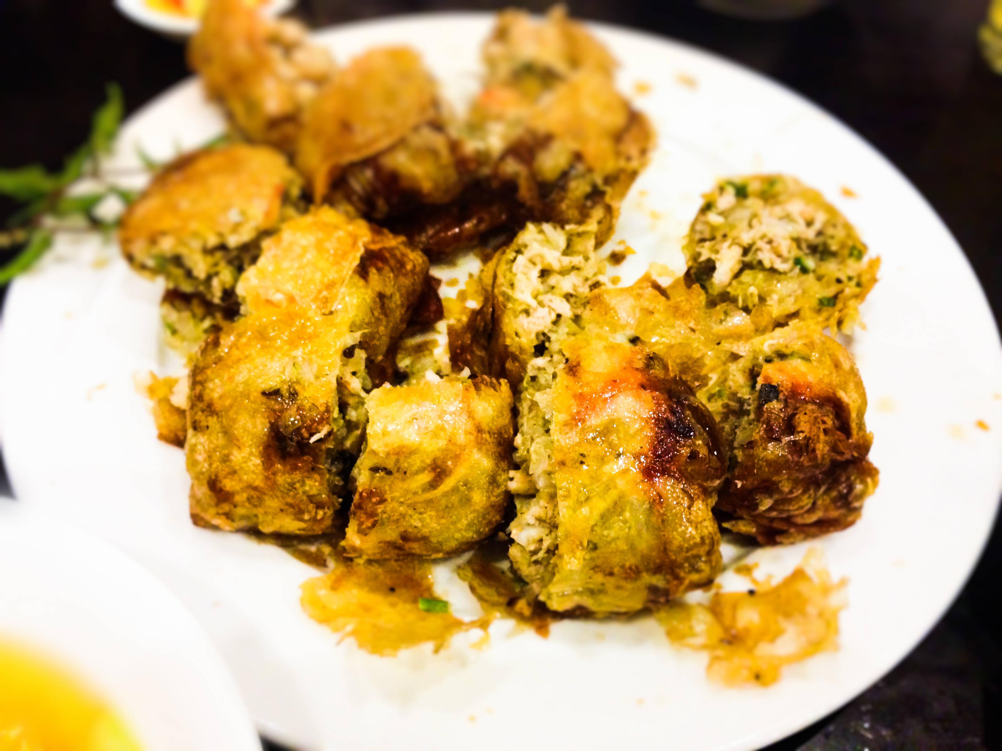 Fried sea crab spring rolls