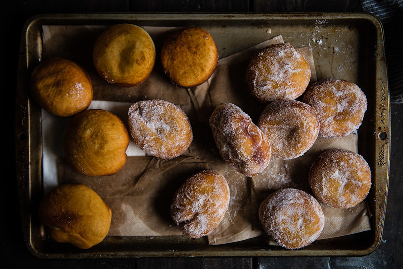 malasadas with guava and lilikoi filling, for #nationaldonutemojiday!