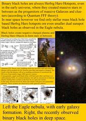 290. Binary Black Holes  are Herbig Haro bowshocks or hotspots.