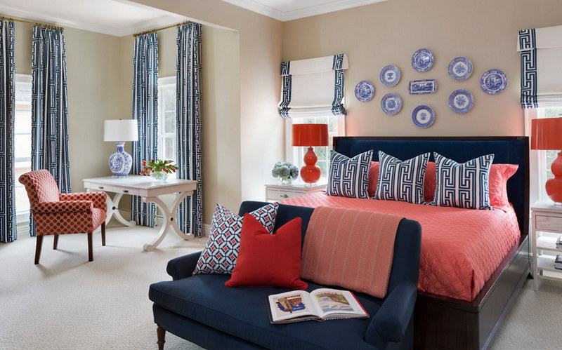 Navy and Red Bedding Blue Striped Curtains Poised Taupe Walls Sherwin William's 2017 Color of the Year