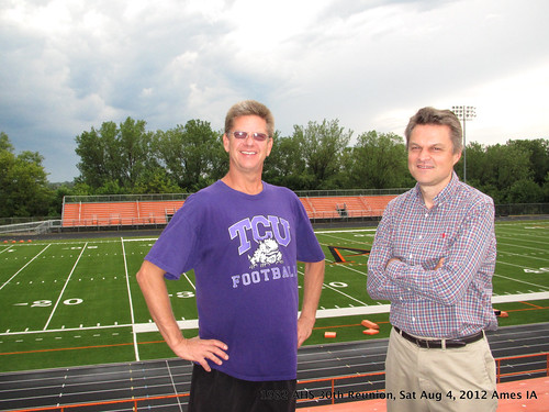 IMG_0722 Saturday 2012-08-04 Ames High School Tour 1982 30-year AHS reunion Ames Iowa David Wershay and Patrick Michel at the AHS football field | by ameshighschool