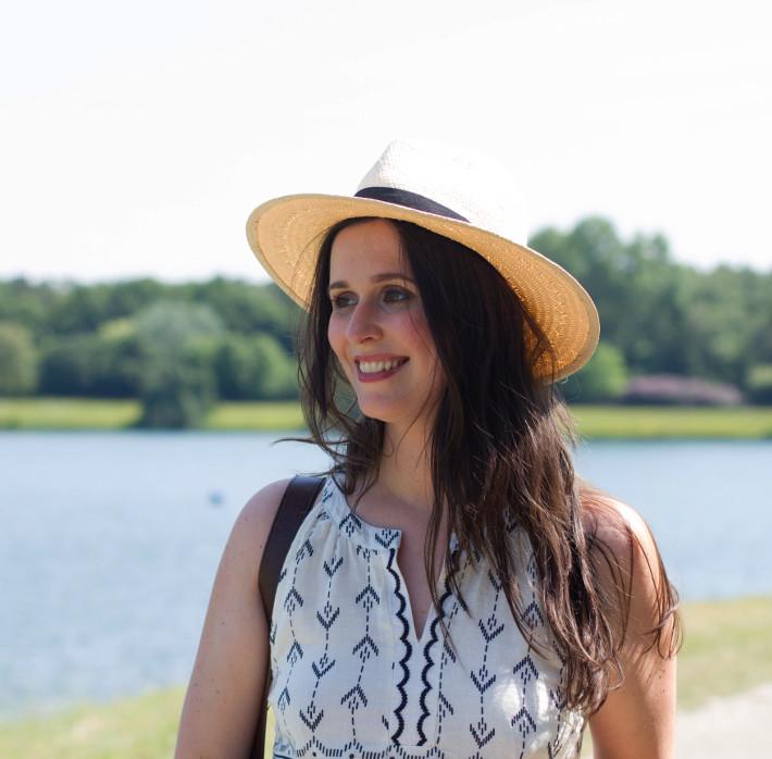 outfit: geometric print sundress, panama hat