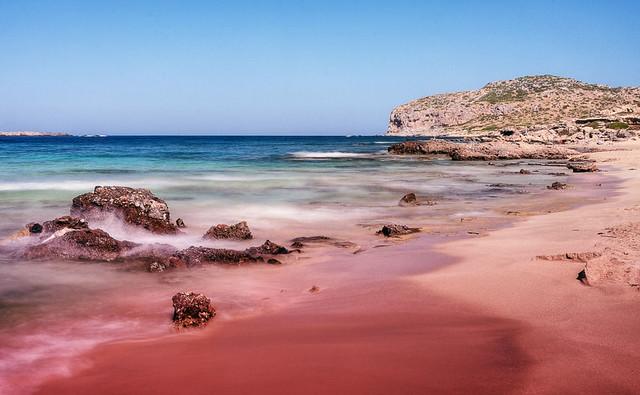 Pink sands beach crete