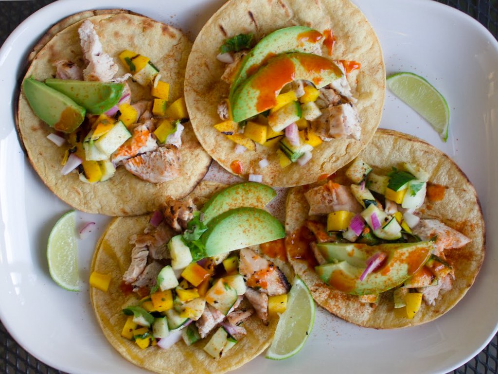 Chicken Tacos | Tequila lime chicken tacos, charred mango cu ...