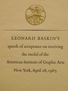Leonard Baskin's Speech of Acceptance