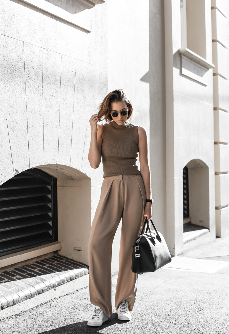 modern legacy, fasion blog, street style, neutral, SABA, sneakers, Givenchy Antigona, wide leg pants, off duty, sport luxe (1 of 1)