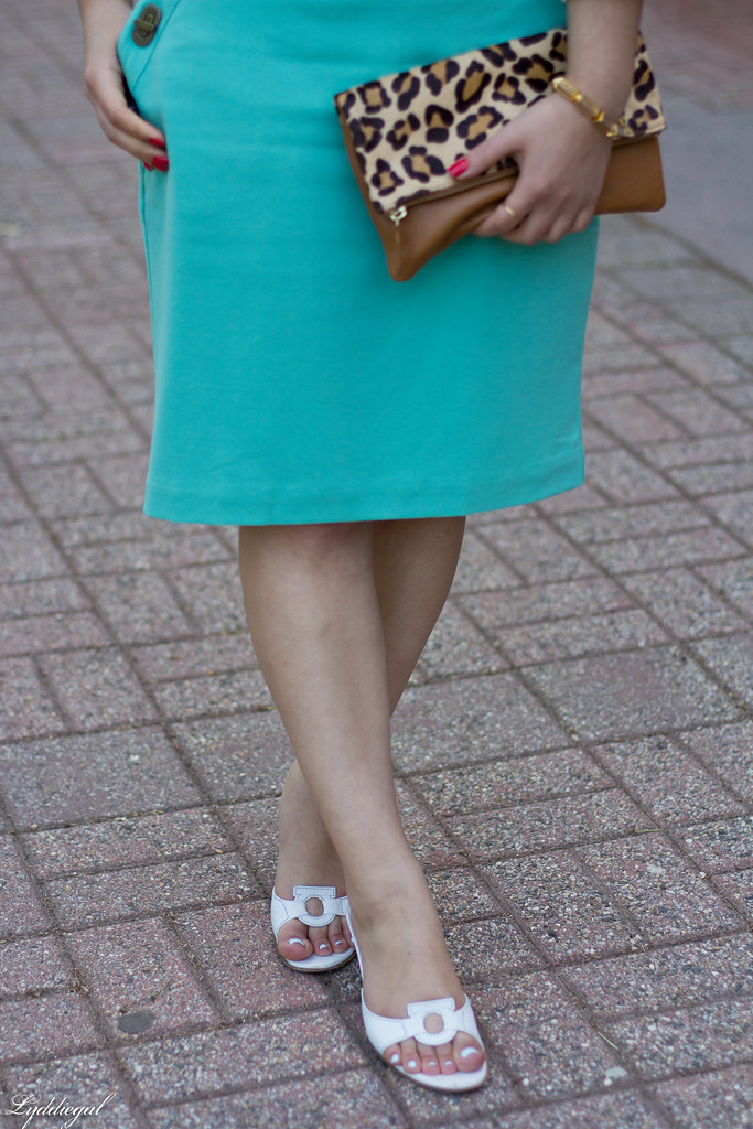 mint green pencil skirt, white blouse, leopard clutch-6.jpg