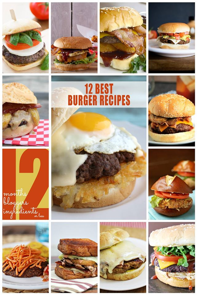 12 Burger Recipes collage.
