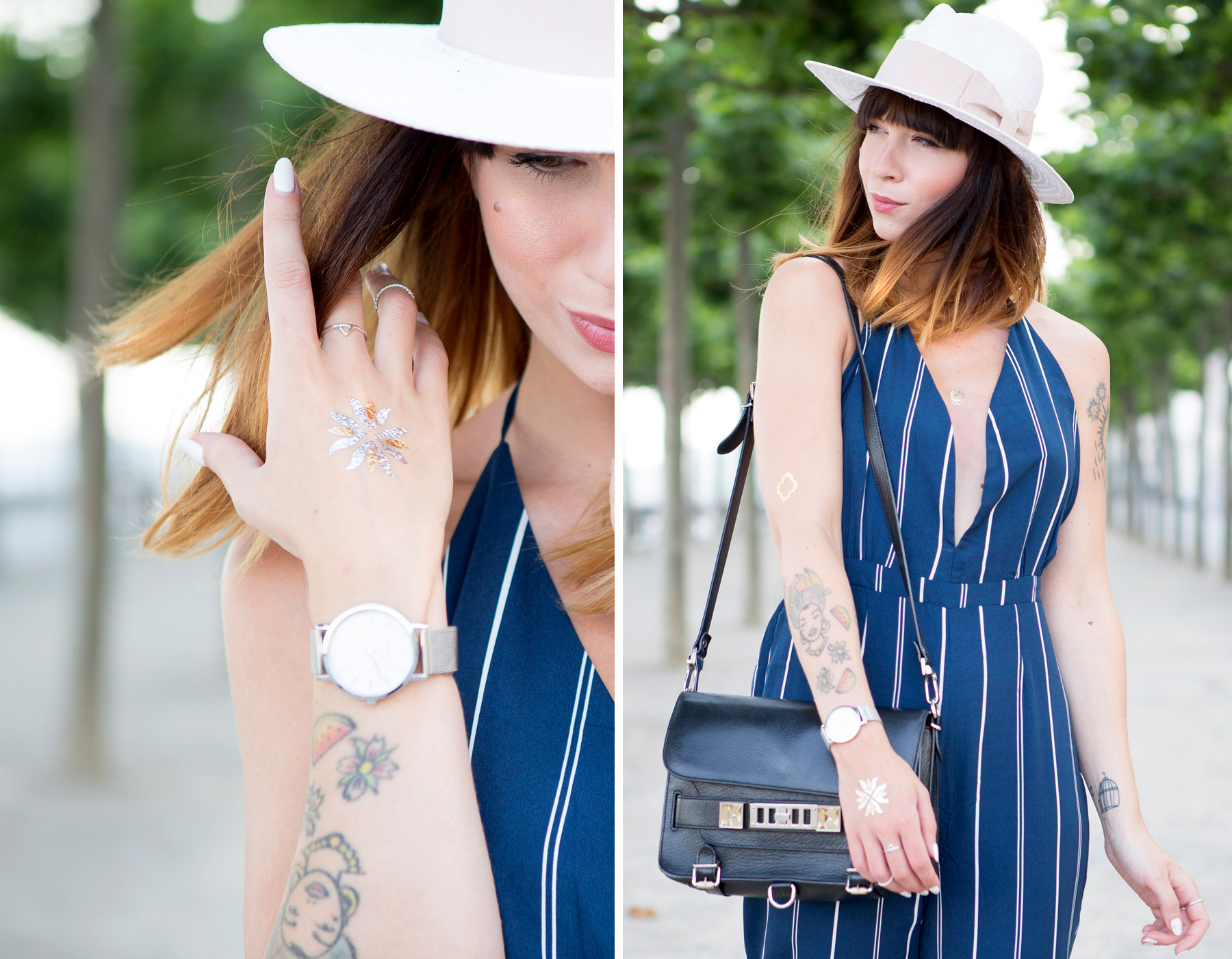 forever 21 jumpsuit overall streifen blue hat summer ombre cats & dogs ricarda schernus blogger berlin 2