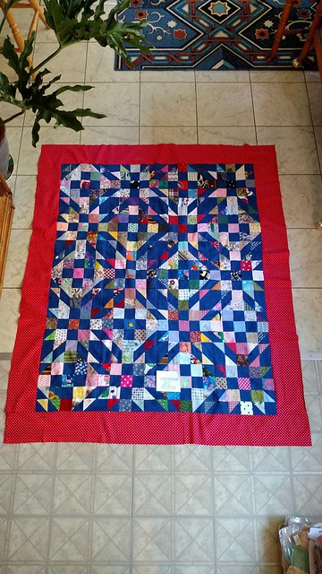 Scrap Dance Waltz #2 Made one more B block to get the 2 children's quilts. Waiting on my long arm to come home from the spa to quilt them.