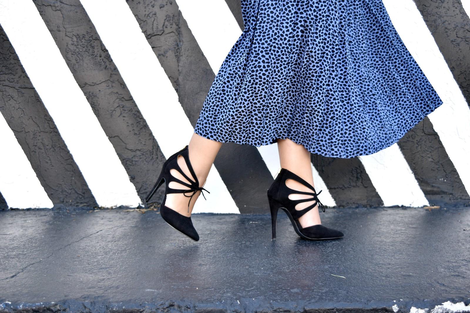 JustFab black lace up heels