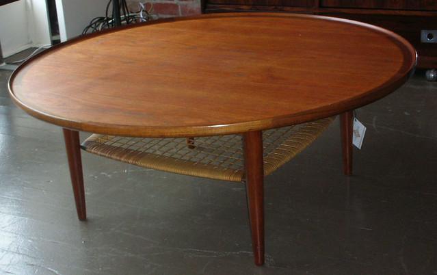 Round Danish Teak Coffee Table Cane Shelf Very Nice