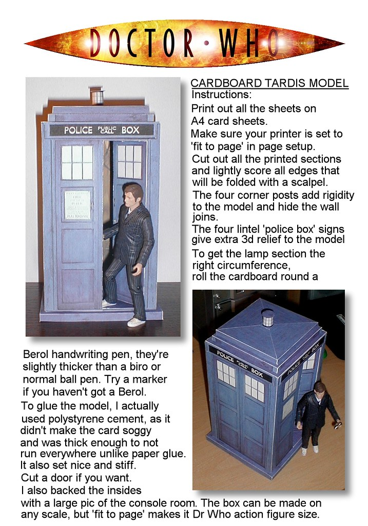 instructions origami tardis instructions page