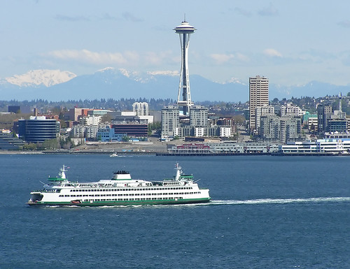 Seattle: Sound, Ferry, Needle, Mountains, Downtown | by libraryman