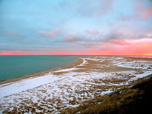 Chatham Lighthouse Beach Winter Sunset On A Winter S