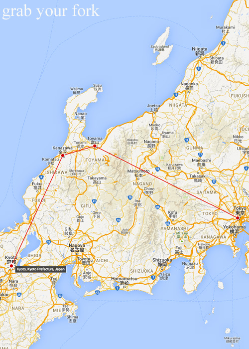 Japan map of our trip from Kanazawa to Kyoto