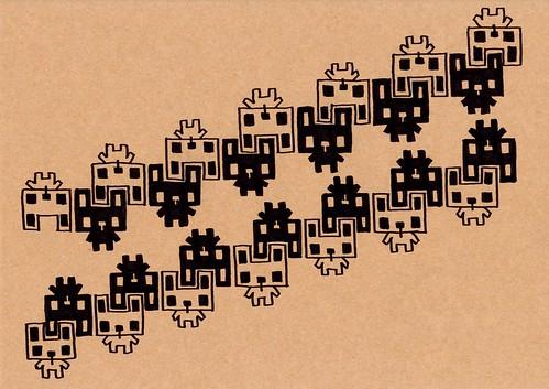 クラフト紙31_噛み合う白四角うさぎと黒四角うさぎ